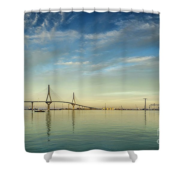 Evening Lights On The Bay Cadiz Spain Shower Curtain