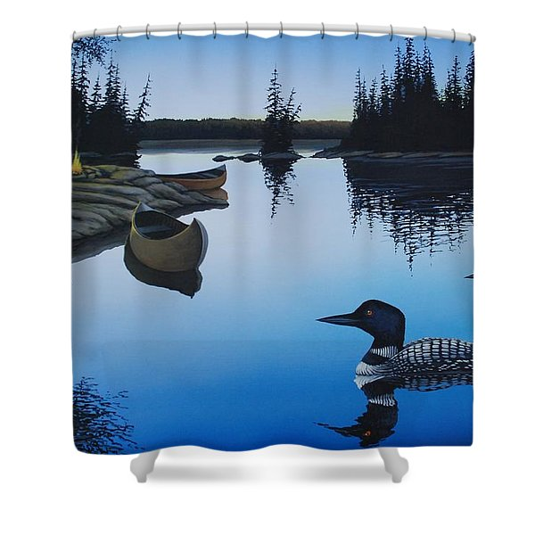 Evening Loons Shower Curtain