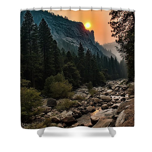 Evening On The Merced River Shower Curtain