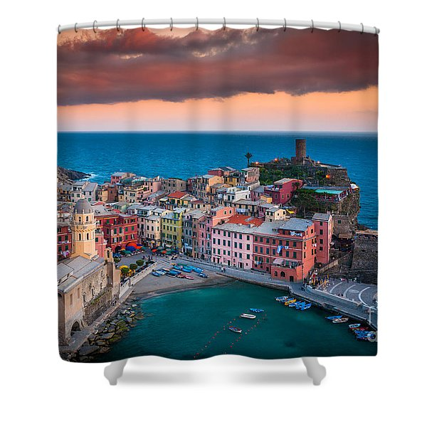 Evening Rolls Into Vernazza Shower Curtain