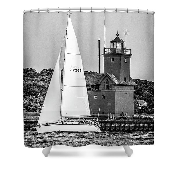 Evening Sail At Holland Light - Bw Shower Curtain