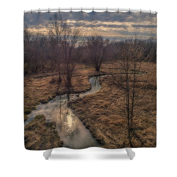 Evening Sun On The Creek Shower Curtain