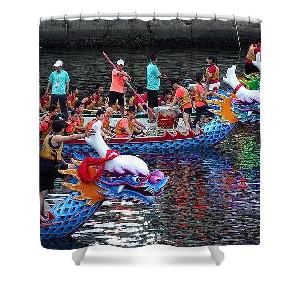 Evening Time Dragon Boat Races In Taiwan Shower Curtain