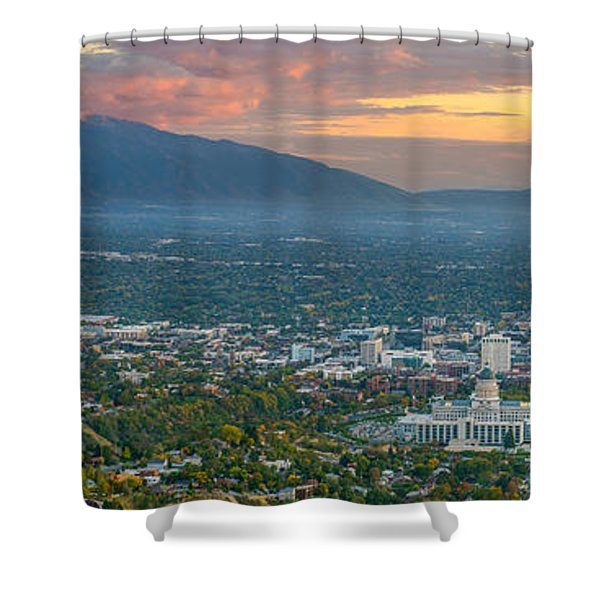 Evening View Of Salt Lake City From Ensign Peak Shower Curtain