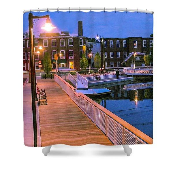 Shower Curtain featuring the photograph Evening Walk At Nashawannuck Pond by Sven Kielhorn