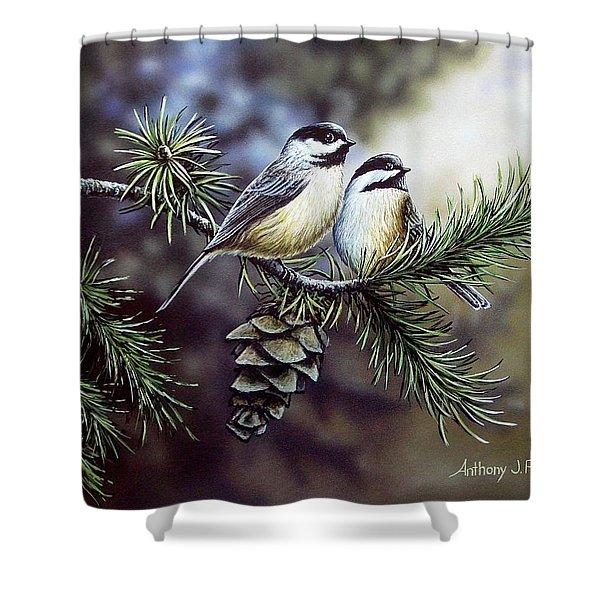 Evergreen Chickadees Shower Curtain