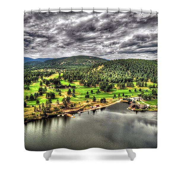 Evergreen Lake And Golf Course Shower Curtain