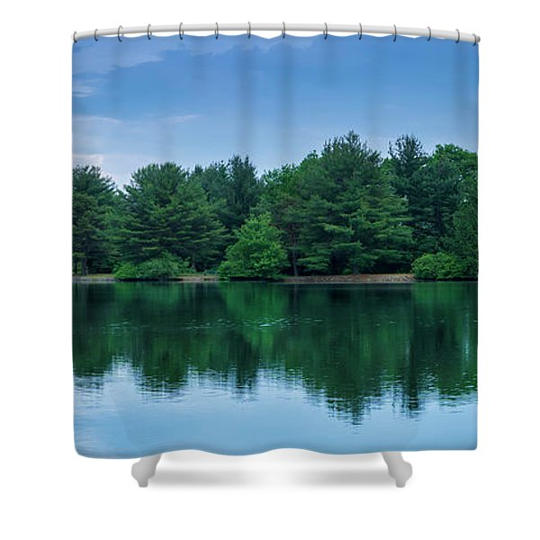Evergreen Lake Reflections Shower Curtain