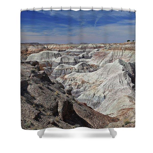 Evident Erosion Shower Curtain