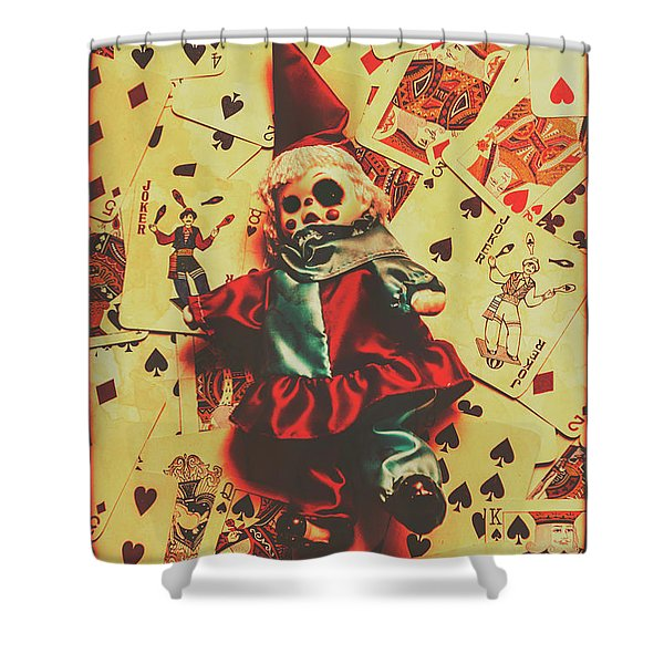 Evil Clown Doll On Playing Cards Shower Curtain