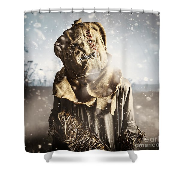 Evil Scarecrow In A Halloween Field Of Darkness Shower Curtain
