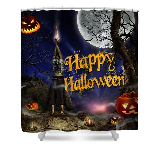 Evocation In Halloween Night Greeting Card Shower Curtain