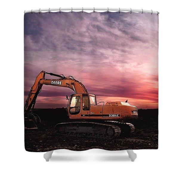 Excavating Sunset Shower Curtain