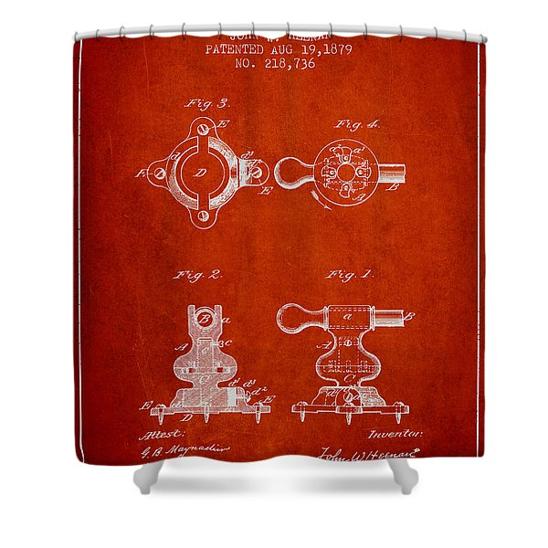 Exercise Machine Patent From 1879 - Red Shower Curtain