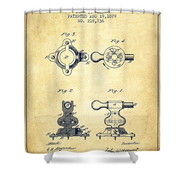Exercise Machine Patent From 1879 - Vintage Shower Curtain