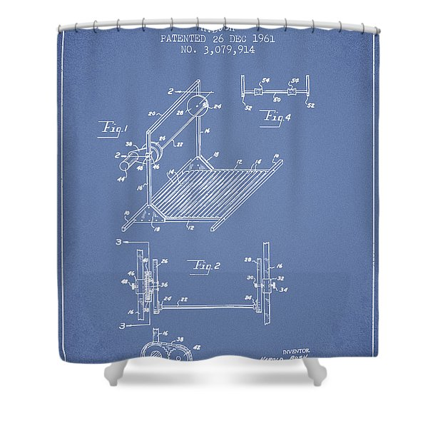 Exercise Machine Patent From 1961 - Light Blue Shower Curtain
