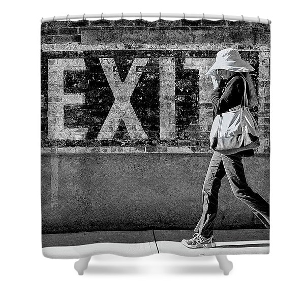 Exit Bw Shower Curtain
