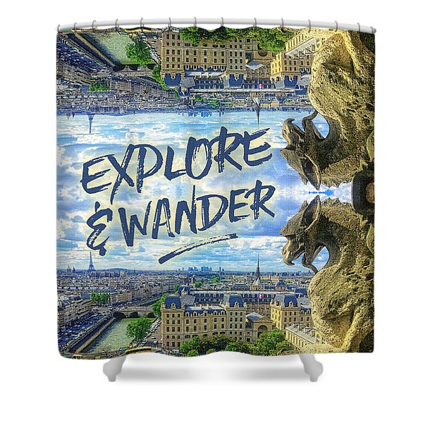 Explore And Wander Notre Dame Cathedral Gargoyle Paris Shower Curtain