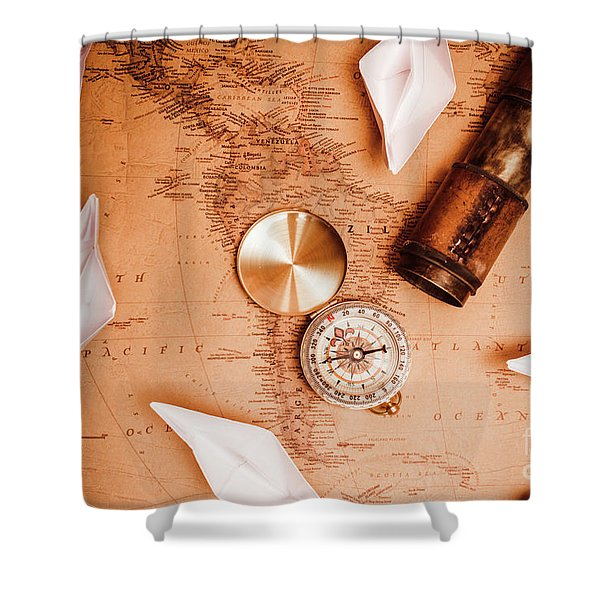 Explorer Desk With Compass, Map And Spyglass Shower Curtain