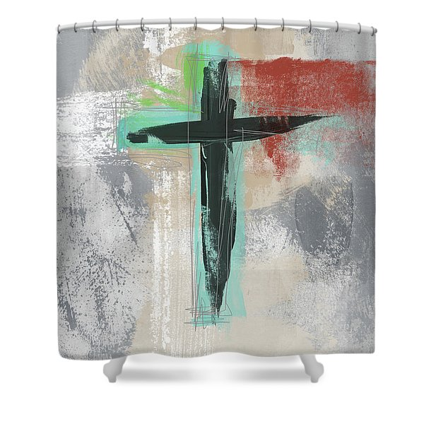 Expressionist Cross 3- Art By Linda Woods Shower Curtain