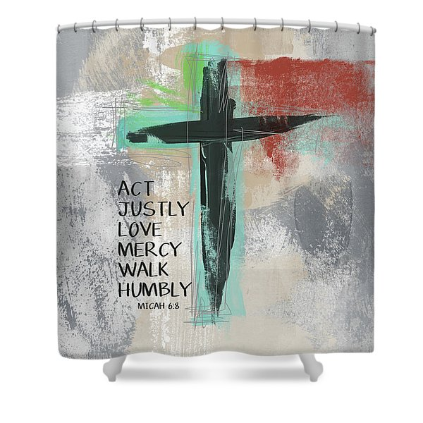 Expressionist Cross Love Mercy- Art By Linda Woods Shower Curtain