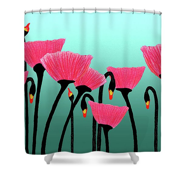 Expressive Red Pink Green Poppy Painting Y1a Shower Curtain