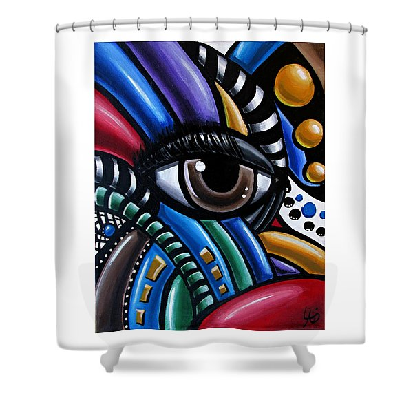 Eye Abstract Art Painting - Intuitive Chromatic Art - Pineal Gland Third Eye Artwork Shower Curtain