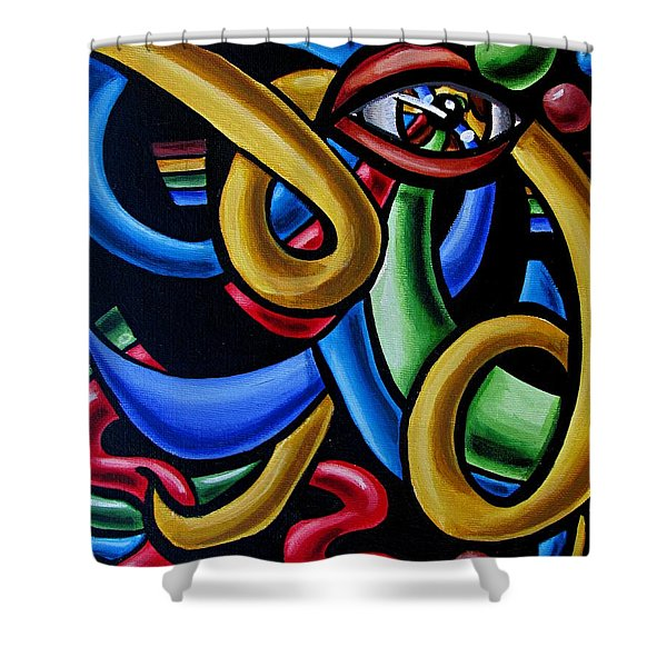 Colorful Illusion Optical Eye Art Painting Chromatic Art - Multicolor Chromatic Energy Flow Art  Shower Curtain