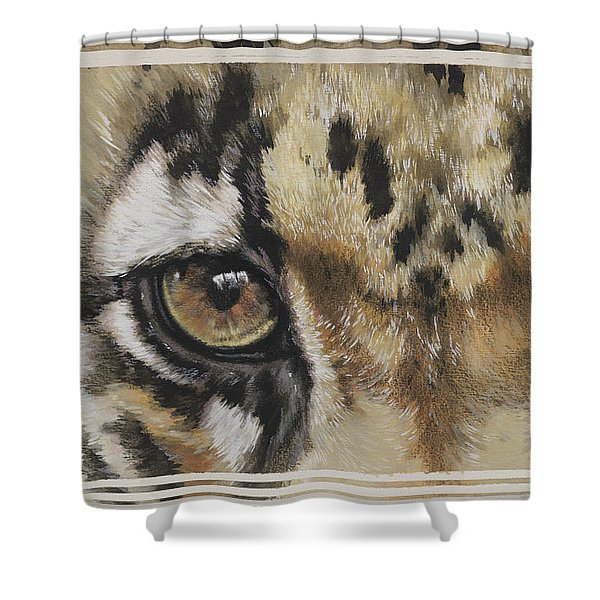 Shower Curtain featuring the painting Clouded Leopard Gaze by Barbara Keith