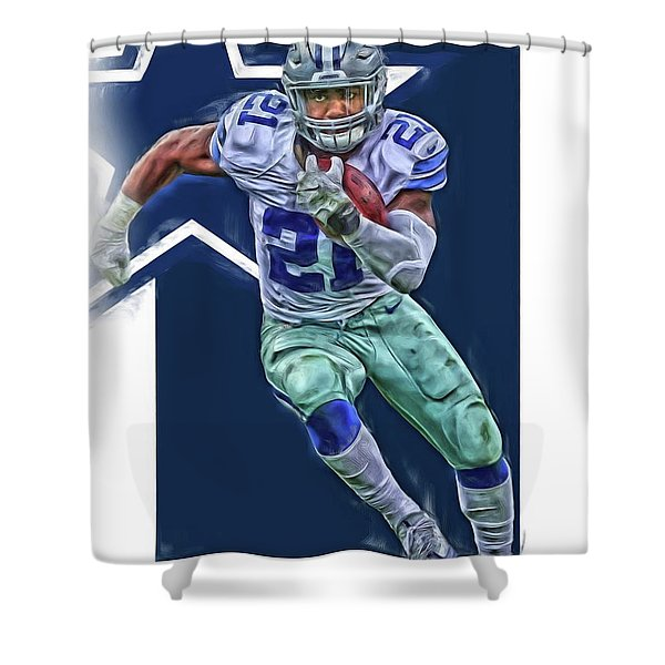 Ezekiel Elliott Dallas Cowboys Oil Art Series 3 Shower Curtain
