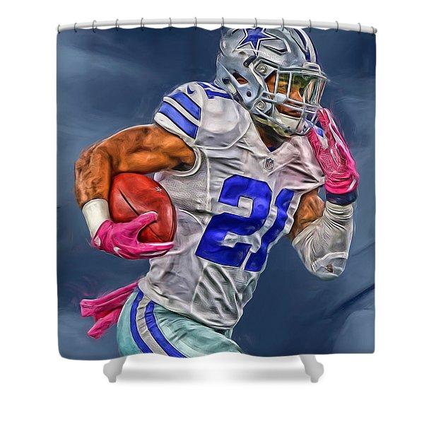 Ezekiel Elliott Dallas Cowboys Oil Painting 1 Shower Curtain