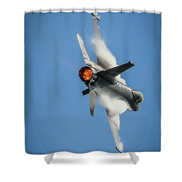 Shower Curtain featuring the photograph F-16 Banks Right by Tom Claud