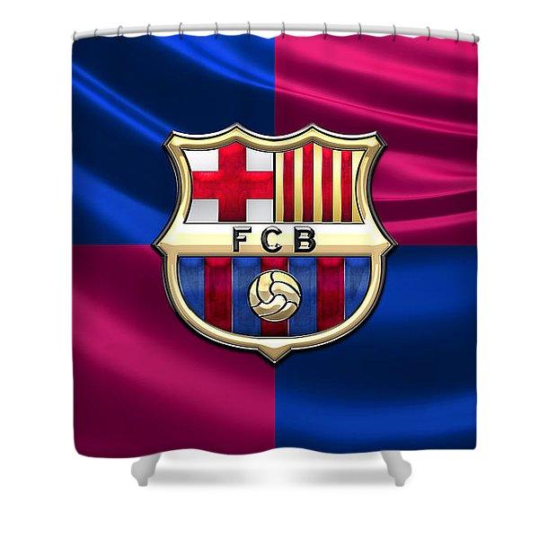 F. C. Barcelona - 3d Badge Over Flag Shower Curtain