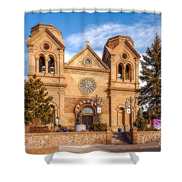 Facade Of Cathedral Basilica Of Saint Francis Of Assisi - Santa Fe New Mexico Shower Curtain