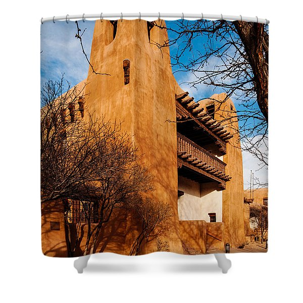 Facade Of New Mexico Museum Of Art - Santa Fe New Mexico Shower Curtain