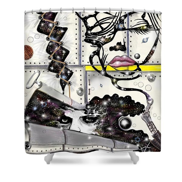 Faces In Space Shower Curtain