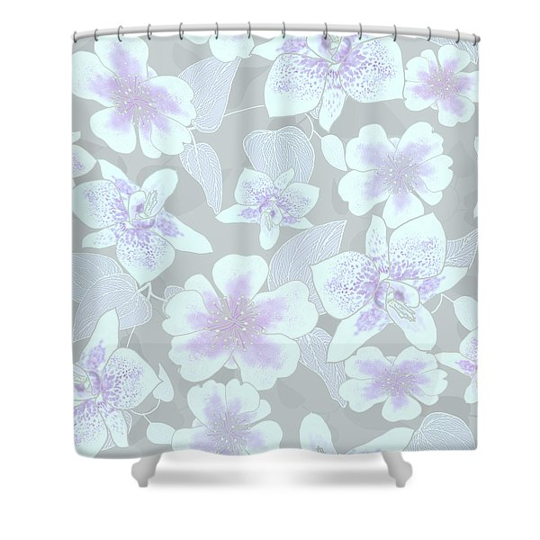 Faded Gray Spotted Orchids Shower Curtain