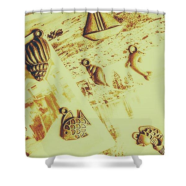Faded Seaside Scrapbook Shower Curtain