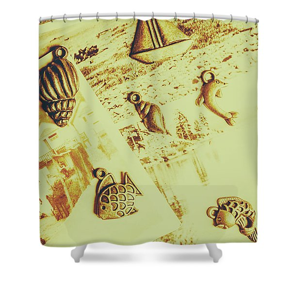 Faded Seaside Scrapbook Shower Curtain