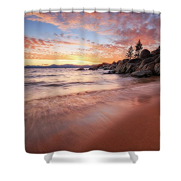 Fading Sunset Waves At Sand Harbor Shower Curtain