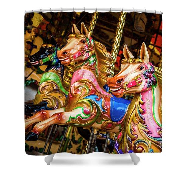 Fairground Carousel Horses Shower Curtain