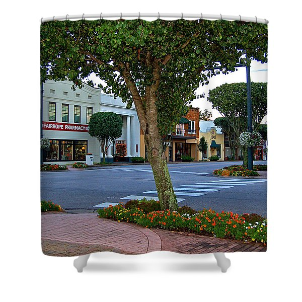 Fairhope Ave With Clock Shower Curtain