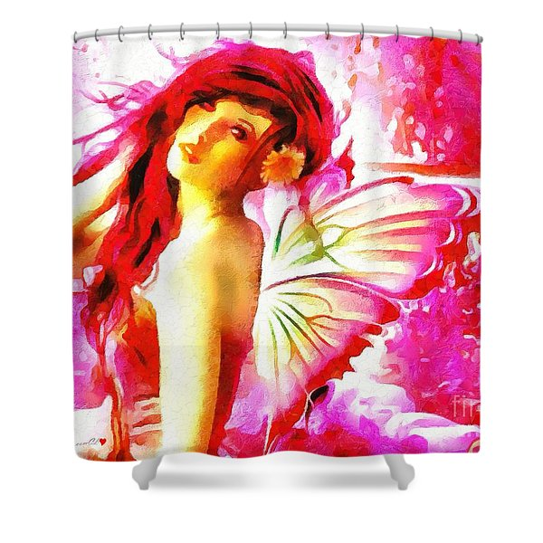 Fairy Angel In The Mix In Thick Paint Shower Curtain