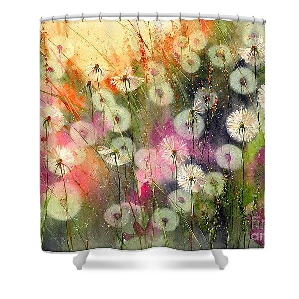 Fairy Dandelions Fields Shower Curtain