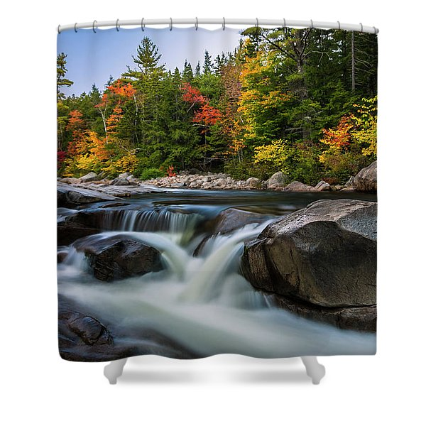 Shower Curtain featuring the photograph Fall Foliage Along Swift River In White Mountains New Hampshire  by Ranjay Mitra