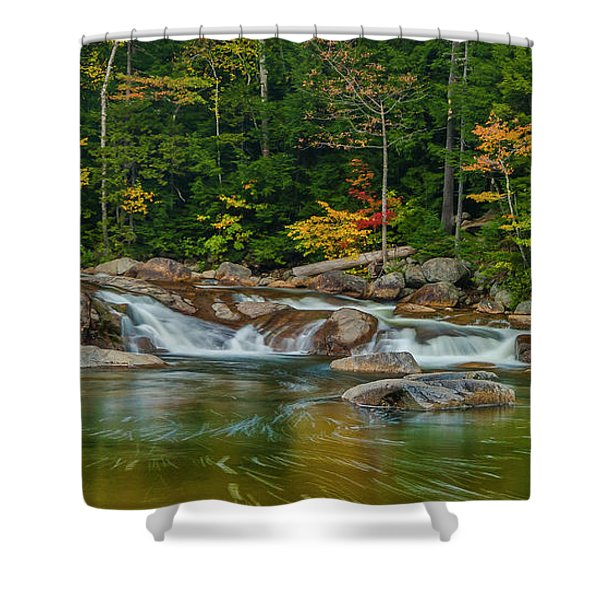 Shower Curtain featuring the photograph Fall Foliage In Autumn Along Swift River In New Hampshire by Ranjay Mitra
