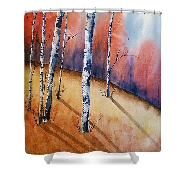 Fall In The Birches Shower Curtain