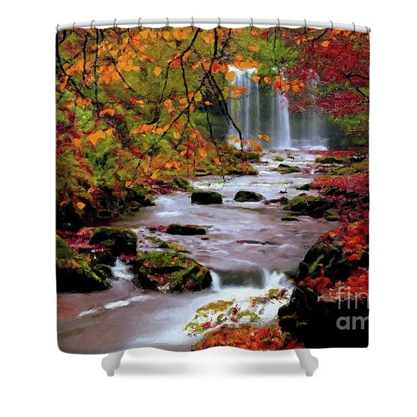 Shower Curtain featuring the painting  Fall It's Here by Rosario Piazza