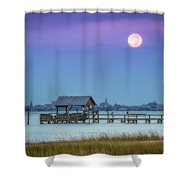 Fall Moon And King Tide - Charleston Sc Shower Curtain