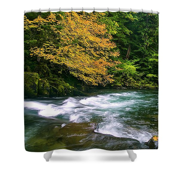 Fall On The Clackamas River, Or Shower Curtain